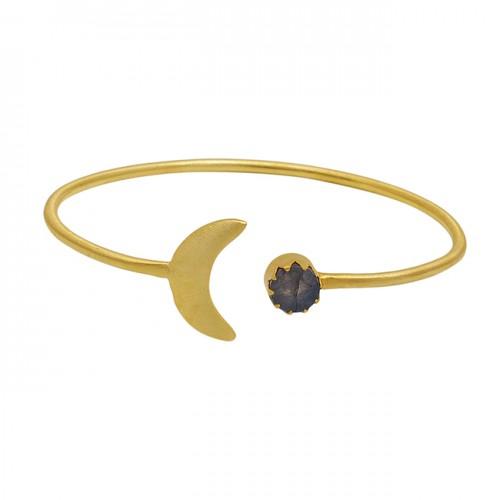 Round Labradorite Gemstone 925 Sterling Silver Gold Plated Bangle