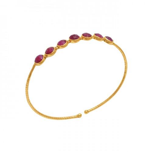 Round Shape Ruby Gemstone 925 Sterling Silver Jewelry Bangle