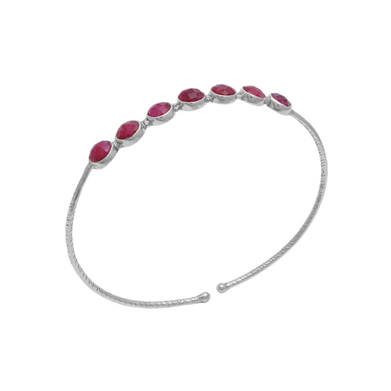 Round Shape Ruby Gemstone 925 Sterling Silver Jewelry Bangle