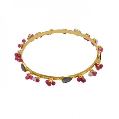925 Sterling Silver Jewelry Beads Oval Shape Gemstone Bangle