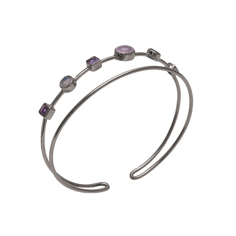 925 Sterling Silver Jewelry Gemstone Gold Plated Bangle Suppliers