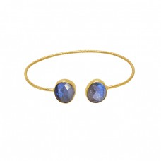 Oval Shape Labradorite Gemstone 925 Silver Jewelry Gold Plated Bangle