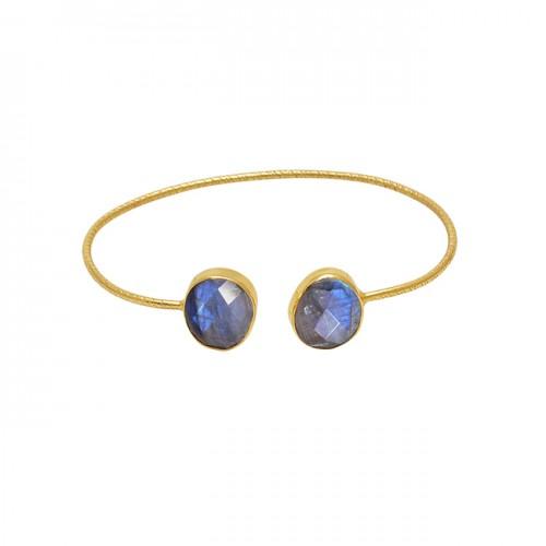 Oval Shape Labradorite Gemstone 925 Silver Jewelry Gold Plated Bangle