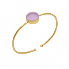 Round Rose Chalcedony Gemstone 925 Silver Jewelry Gold Plated Bangle