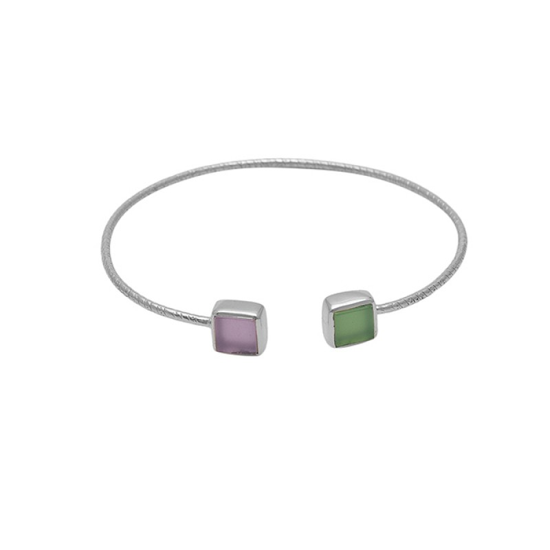 Square Shape Chalcedony Gemstone 925 Silver Jewelry Gold Plated Bangle