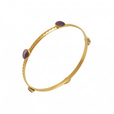 Fancy Shape Tourmaline Gemstone 925 Silver Jewelry Gold Plated Bangle