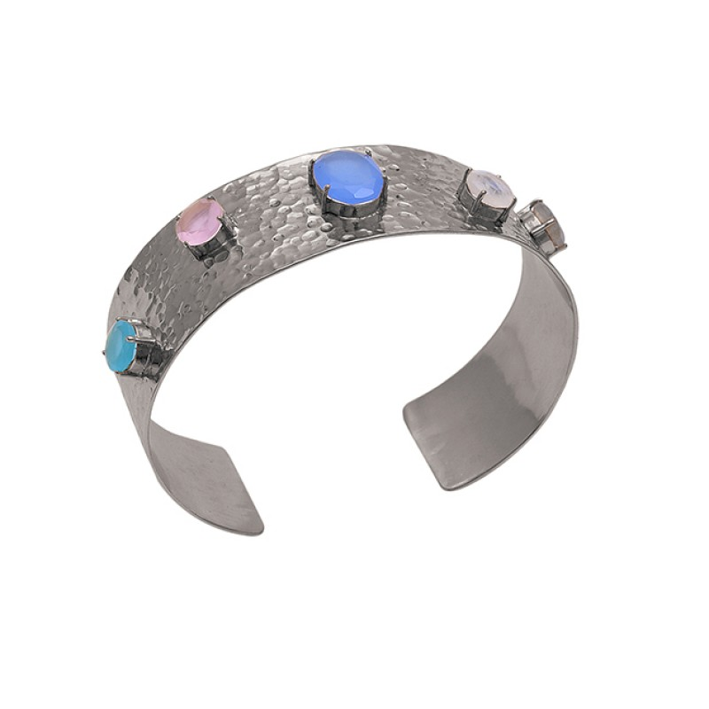 Multi Color Gemstone 925 Sterling Silver Jewelry Gold Plated Bangle