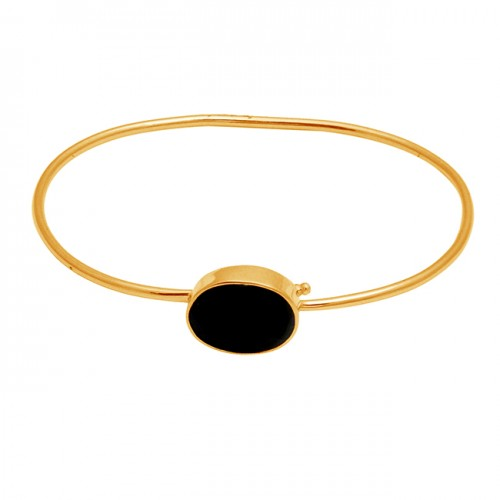 Black onyx oval sterling silver gold plated bangle jewelry