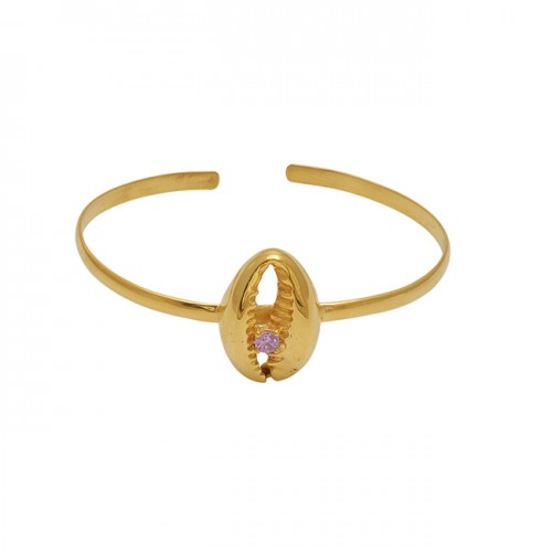 Round Shape Pink Quartz Gemstone 925 Silver Jewelry Bangle