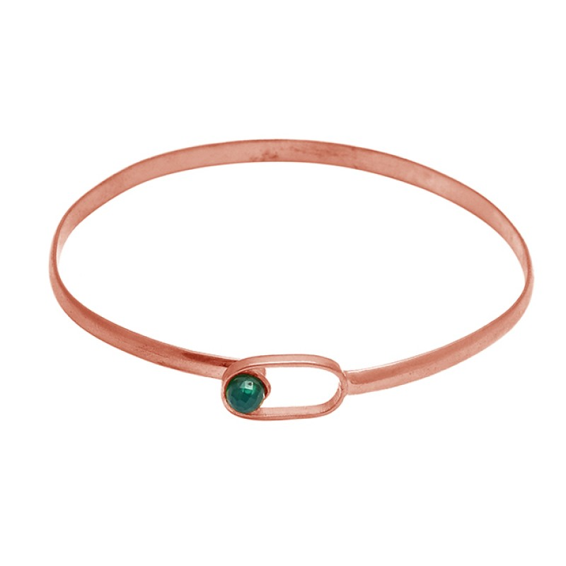 Green onyx balls sterling silver gold plated bangle jewelry