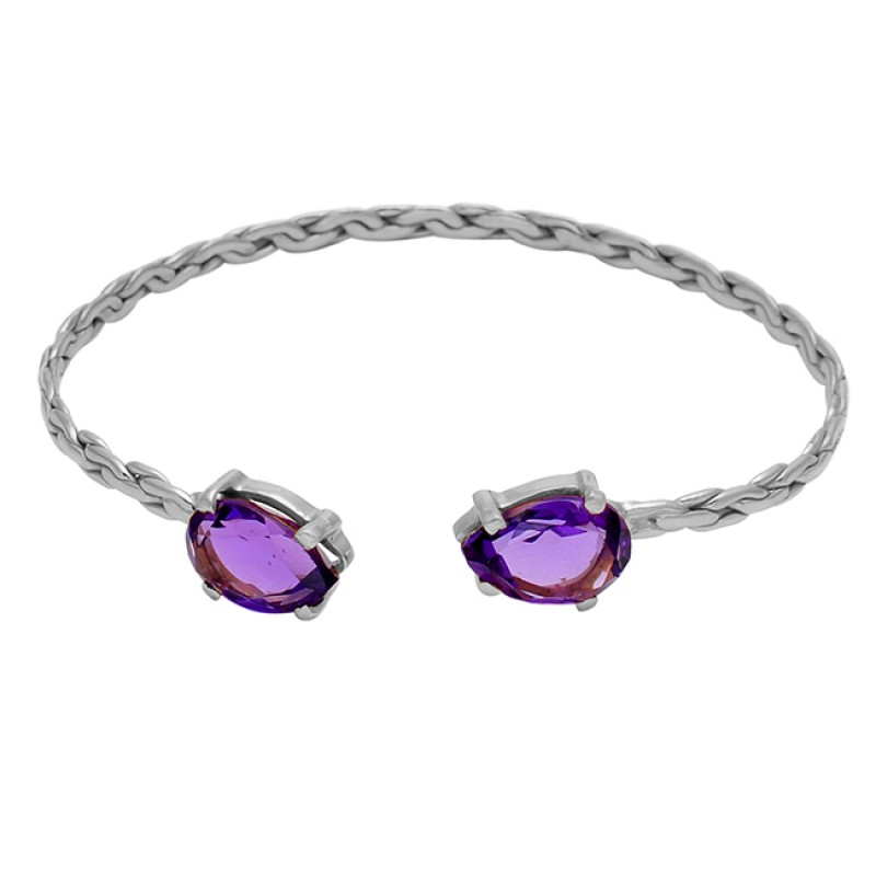 Amethyst pear sterling silver gold plated bangle jewelry
