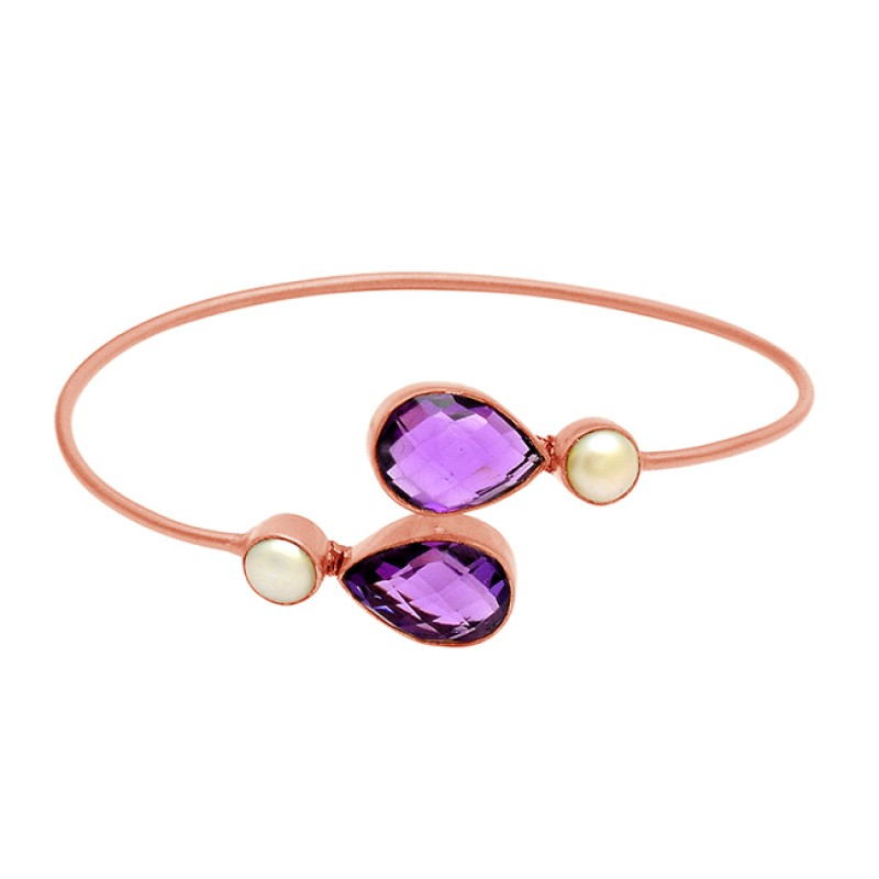 Amethyst & Pearl sterling silver gold plated bangle jewelry