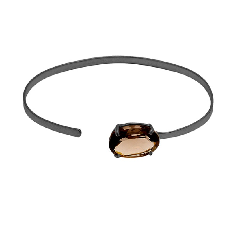 Smoky Quartz oval sterling silver gold plated bangle jewelry