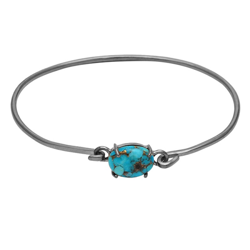 Blue Copper Turquoise sterling silver gold plated bangle