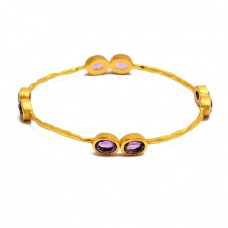 Designer Amethyst oval sterling silver gold plated bangle jewelry