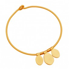 Handmade Adjustable Plain Sterling Silver Gold Plated Bangle Jewelry