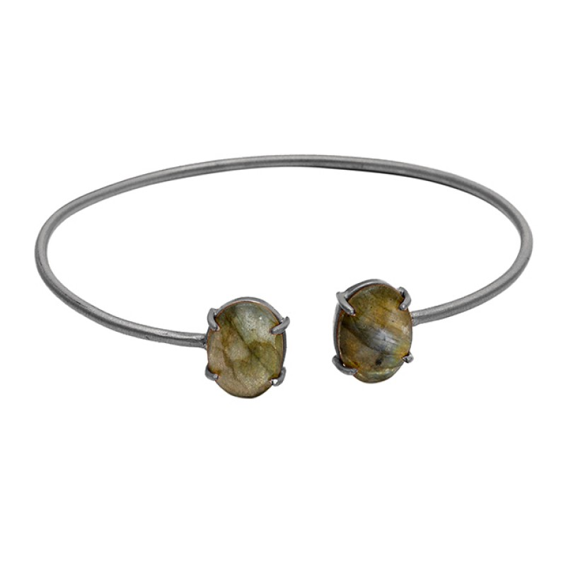 Labradorite oval sterling silver gold plated bangle jewelry