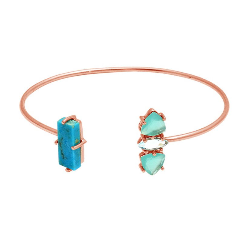 Turquoise Aqua Chalcedony sterling silver gold plated bangle