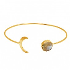 Moon Shape Designer Labradorite Gemstone 925 Sterling Silver Gold Plated Bangle Jewelry