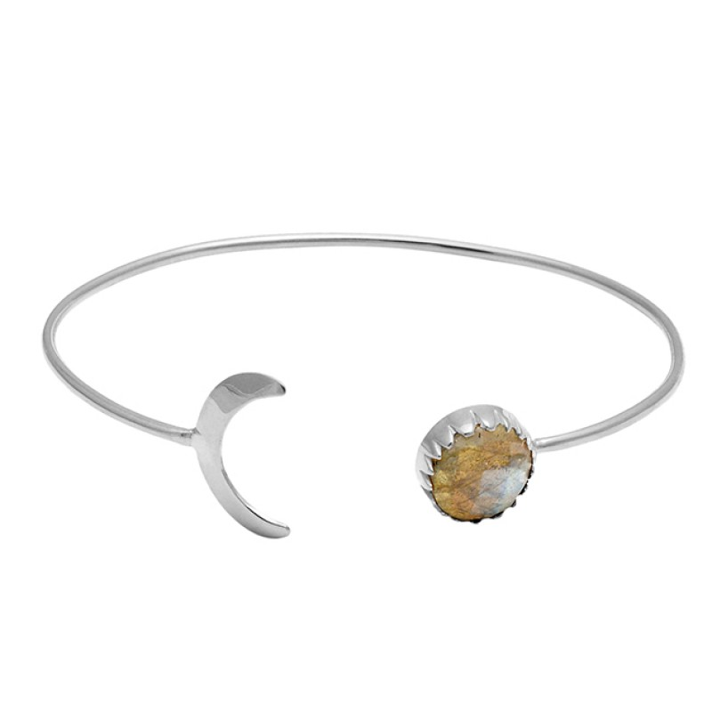 Moon Shape Designer Labradorite Gemstone 925 Sterling Silver Gold Plated Bangle Jewelry