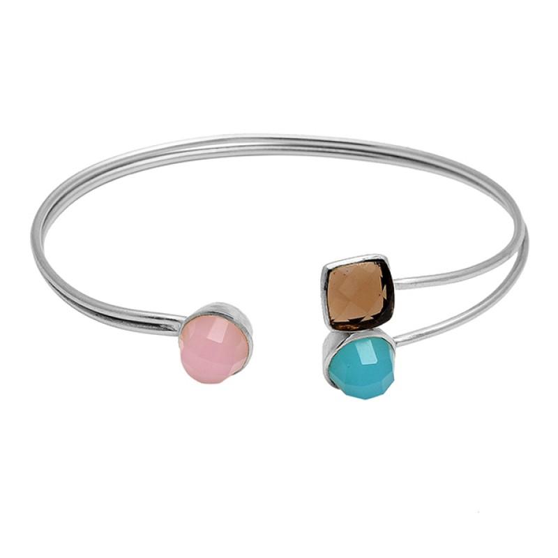 Smoky quartz, Aqua chalcedony & Rose chalcedony sterling silver gold plated bangle
