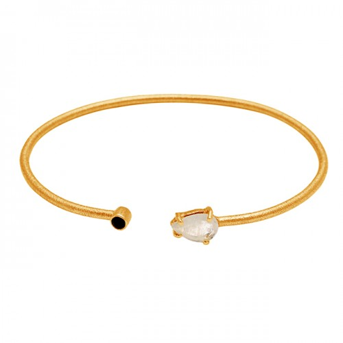 Rainbow Moonstone Black Onyx Gemstone 925 Sterling Silver Gold Plated Bangle Jewelry