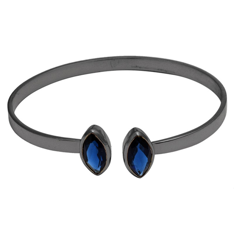 Iolite marquise sterling silver gold plated bangle jewelry