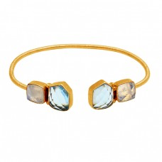Handmade Rainbow Moonstone Blue Topaz Gemstone 925 Sterling Silver Gold Plated Bangle Jewelry
