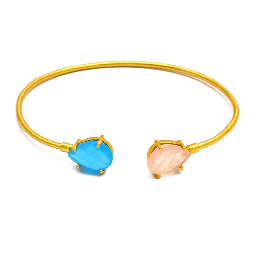 Adjustable Aqua Rose Color Chalcedony Gemstone 925 Sterling Silver Gold Plated Bangle Jewelry