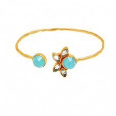 Aqua Chalcedony Blue Topaz Gemstone 925 Sterling Silver Gold Plated Adjustable Bangle Jewelry