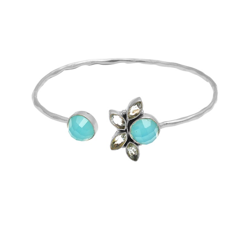Aqua Chalcedony Blue Topaz Gemstone 925 Sterling Silver Gold Plated Adjustable Bangle Jewelry