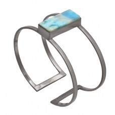 Handcrafted Blue Larimar Gemstone 925 Sterling Silver Adjustable Gold Plated Bangle Jewelry