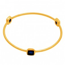 Square Shape Blue Quartz Gemstone 925 Sterling Silver Gold Plated Bangle Jewelry