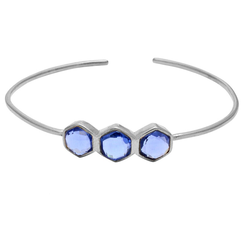 Hexagon Shape Blue Quartz Gemstone 925 Sterling Silver Gold Plated Adjustable Bangle Jewelry
