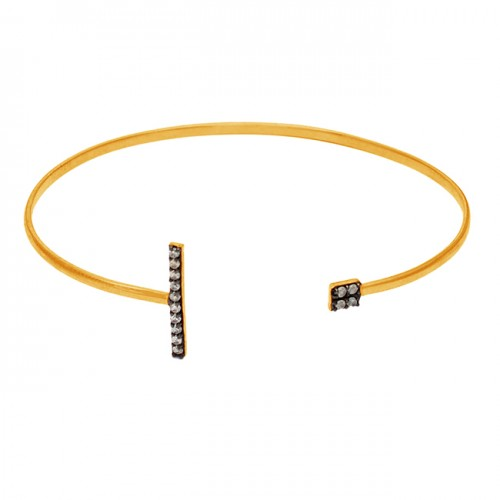 Pave Cubic Zirconia Gemstone 925 Sterling Silver Adjustable Gold Plated Bangle Jewelry