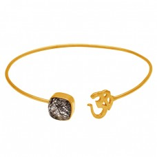 Traditional Black Rutile Cushion Shape Gemstone 925 Sterling Silver Gold Plated Bangle Jewelry