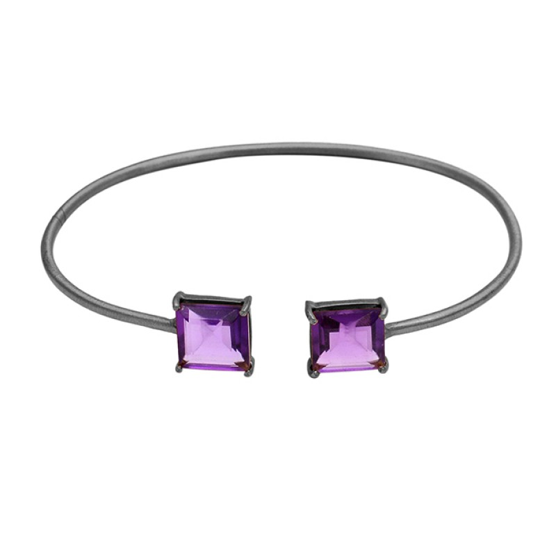 Amethyst square sterling silver gold plated bangle jewelry