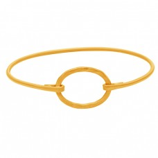 Fashionable Plain Silver Designer 925 Sterling Silver Gold Plated Bangle Jewelry