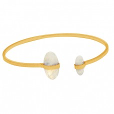 Briolette Oval Rainbow Moonstone Gemstone 925 Sterling Silver Gold Plated Bangle Jewelry
