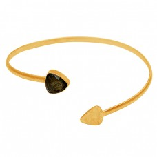 Arrow Shape Designer Labradorite Gemstone 925 Sterling Silver Gold Plated Bangle Jewelry