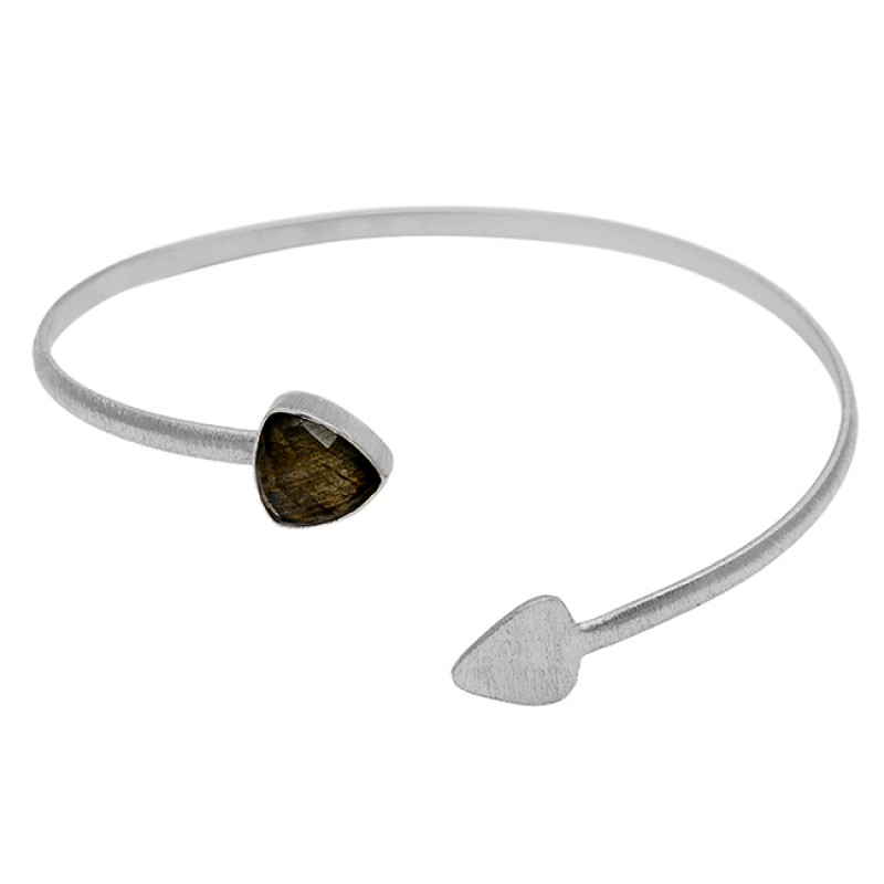 Arrow Shape Designer Labradorite Gemstone 925 Sterling Silver Gold Plated Bangle Jewelry