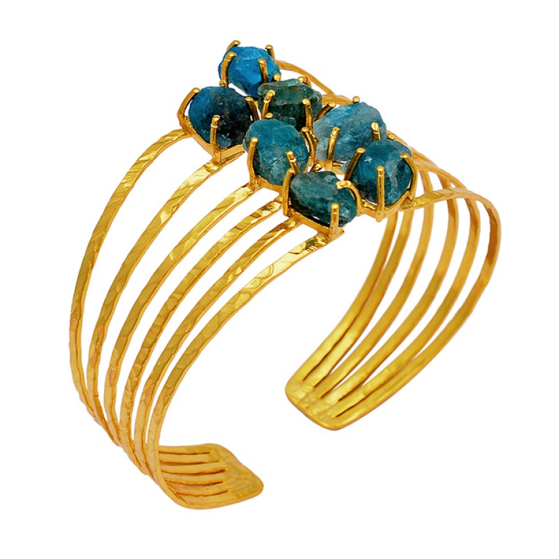 Raw Material Apatite Rough Gemstone 925 Sterling Silver Adjustable Gold Plated Bangle Jewelry