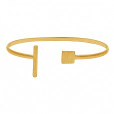 Attractive Plain Silver Designer 925 Sterling Silver Adjustable Gold Plated Bangle Jewelry