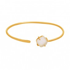 Prong Setting Rainbow Moonstone Cushion Shape Gemstone 925 Sterling Silver Gold Plated Bangle Jewelry