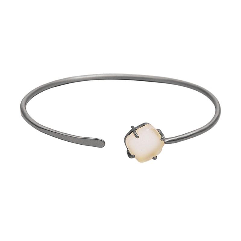Prong Setting Rainbow Moonstone Cushion Shape Gemstone 925 Sterling Silver Gold Plated Bangle Jewelry