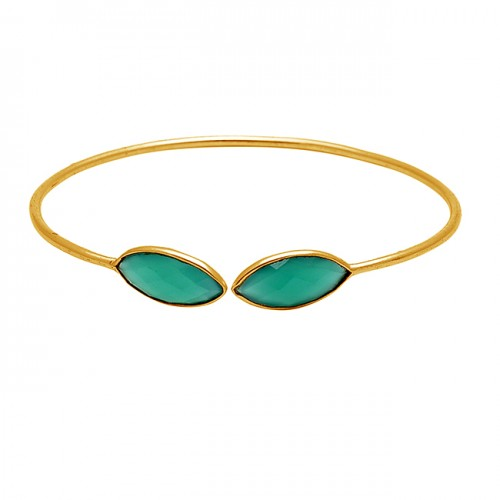 Marquise Briolette Green Onyx Gemstone 925 Sterling Silver Gold Plated Bangle Jewelry