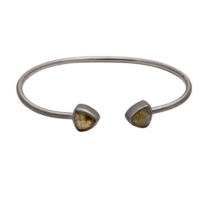 Adjustable Labradorite Gemstone 925 Sterling Silver Gold Plated Bangle Jewelry