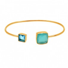 Blue Topaz Aqua Chalcedony Gemstone 925 Sterling Silver Gold Plated Bangle Jewelry