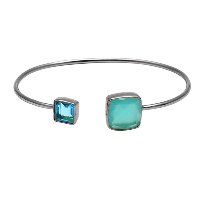 Blue Topaz Aqua Chalcedony Gemstone 925 Sterling Silver Gold Plated Bangle Jewelry