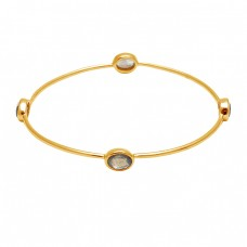 Faceted Oval Shape Labradorite Gemstone 925 Sterling Silver Gold Plated Bangle Jewelry